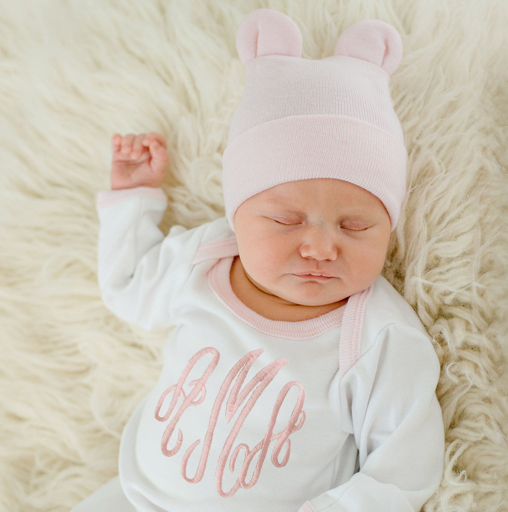 Pink Bear Newborn Hospital Hat  and Monogramed Gown (or Onesie) SET (2 piece SET)
