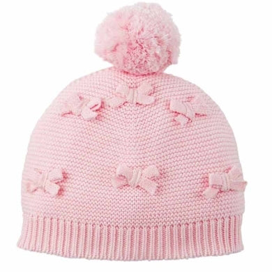 Bow Pom Pom Knit Baby Girl Hat Size 6-18 months (white or pink)