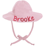 Light Pink Wide Brim Baby Sun Hat - UPF 50 Sun Protection - Personalization Optional