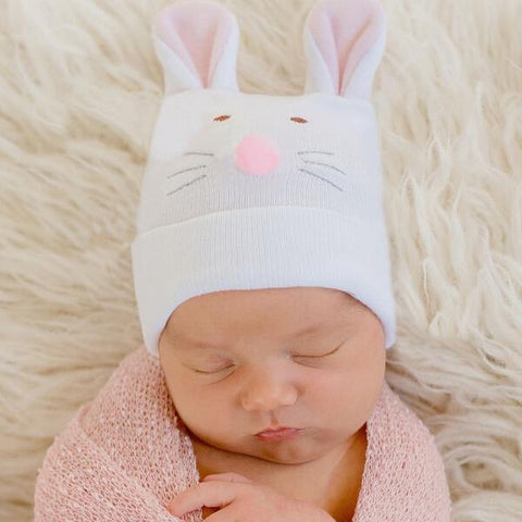 Pink Bunny Face Newborn and Baby Girl Hospital Hat AND onesie set