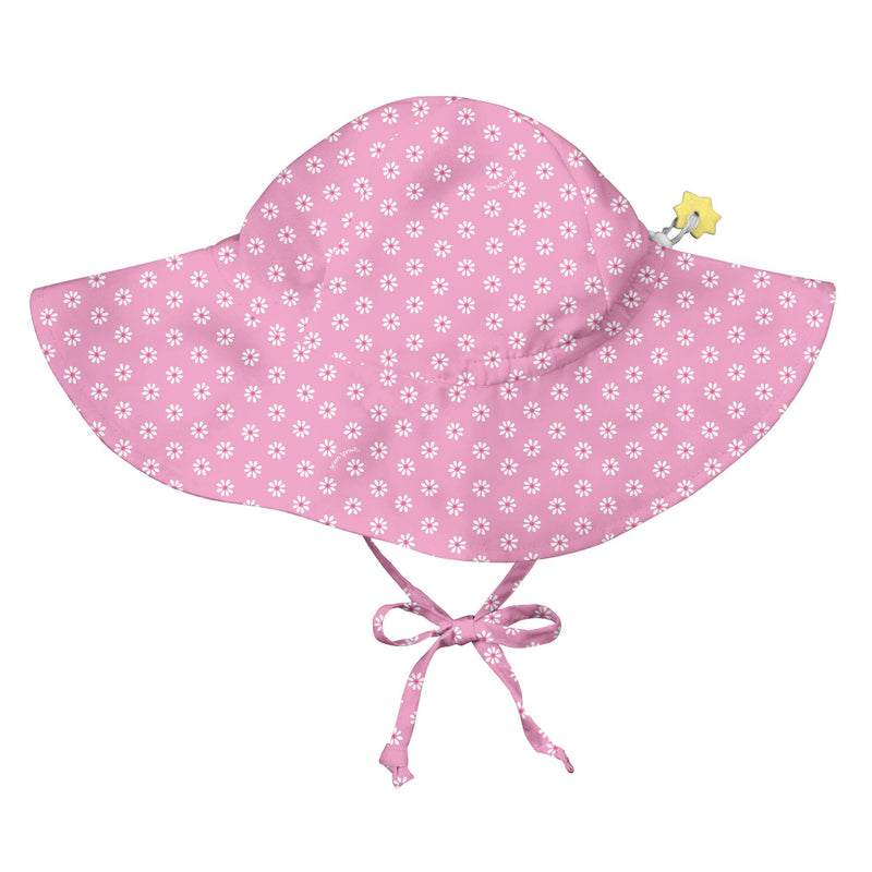 Infant Baby Bonnet Pink and Green Stripes Reversible to Pink Polka Dots Chin Straps