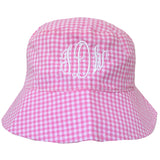 Monogrammed Pink and White Gingham Checked Sun Hat for Baby and Toddler Girls- With Velcro Chin Strap