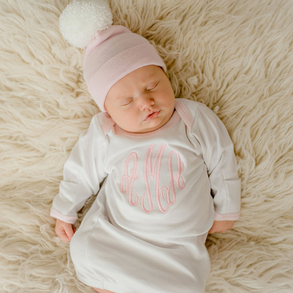 Pink Newborn Hospital Hat with White Pom Pom and Monogramed Gown (or Onesie) SET (2 piece SET)