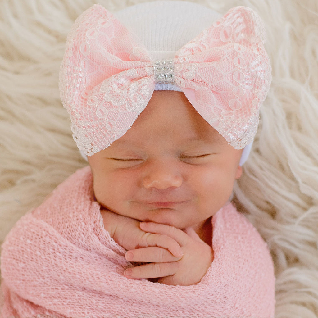 Pink Lace Bow with Silver Rhinestones on White Hospital Hat- Nursery Beanie for Girls