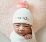 Miracle Girl Mixed Pinks Pom Pom and Miracle Patch Baby Hat - White Hospital Hat