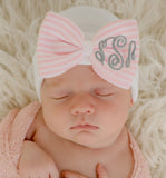 WIDE Pink Striped Bow with Monogrammed Initials Nursery Newborn GIRL hospital hat