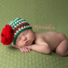 Ruby Red and Emerald Green Crochet Baby Girl Hat