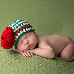 Ruby Red and Emerald Green Crochet Baby Girl Hat icon