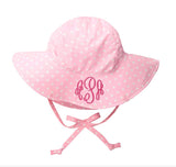 Pink and White Polka Dot Baby Sun Hat -PERSONALIZED Option