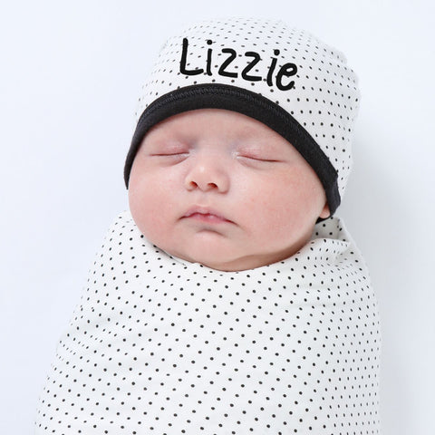 100% ORGANIC Black and White Dot Hat and Swaddle Blanket SET for Newborn Babies - Gender Neutral - Personalization Optional