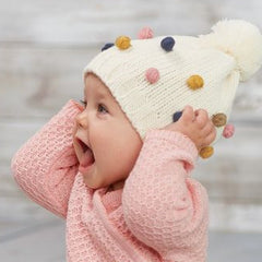 Multi Colored Mini Pom Pom Knit Baby Girl and Toddler Girl Hat icon