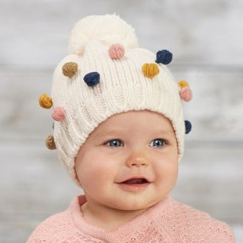 Multi Colored Mini Pom Pom Knit Baby Girl and Toddler Girl Hat