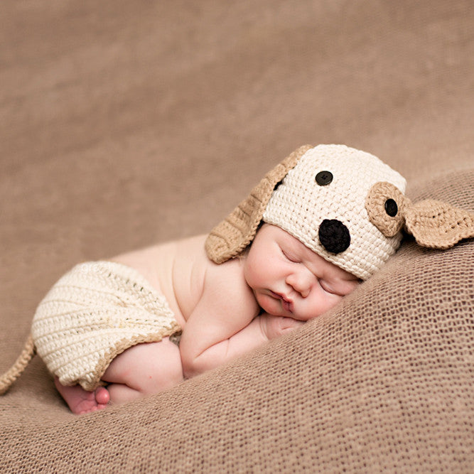 Precious Puppy Dog Hat and Diaper Cover Set