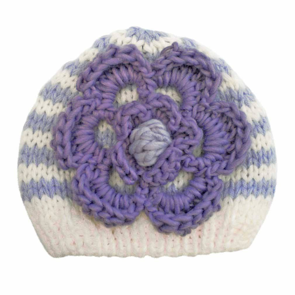 Pretty Purple Striped Flower Beanie for Baby or Toddler Girl
