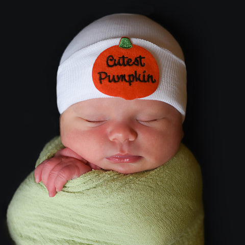 Cutest Pumpkin Newborn Boy and Girl Hospital Hat - White, Blue or Pink Hat