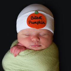 Cutest Pumpkin Newborn Boy and Girl Hospital Hat - White, Blue or Pink Hat icon