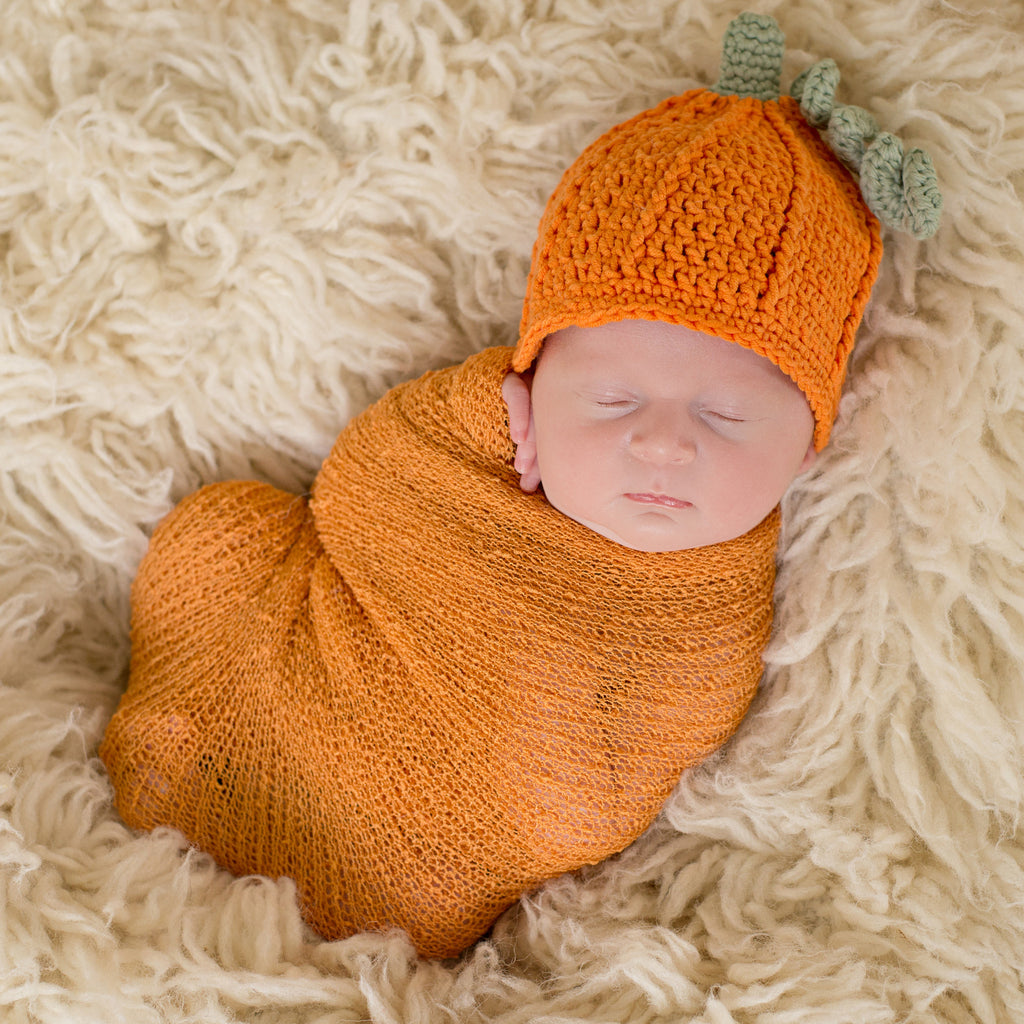 Pumpkin Pie Hat and Matching Swaddle for Newborns - Gender Neutral