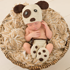 Spotted Eye Puppy Hat, Booties & Diaper Cover Set icon