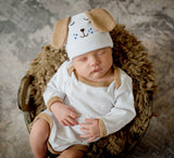 Puppy Dog Face with Ears and Matching Onesie SET Newborn and Baby Hospital Hat