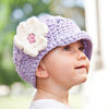 Lavender Flower Visor Beanie or Baby and Toddler Girls