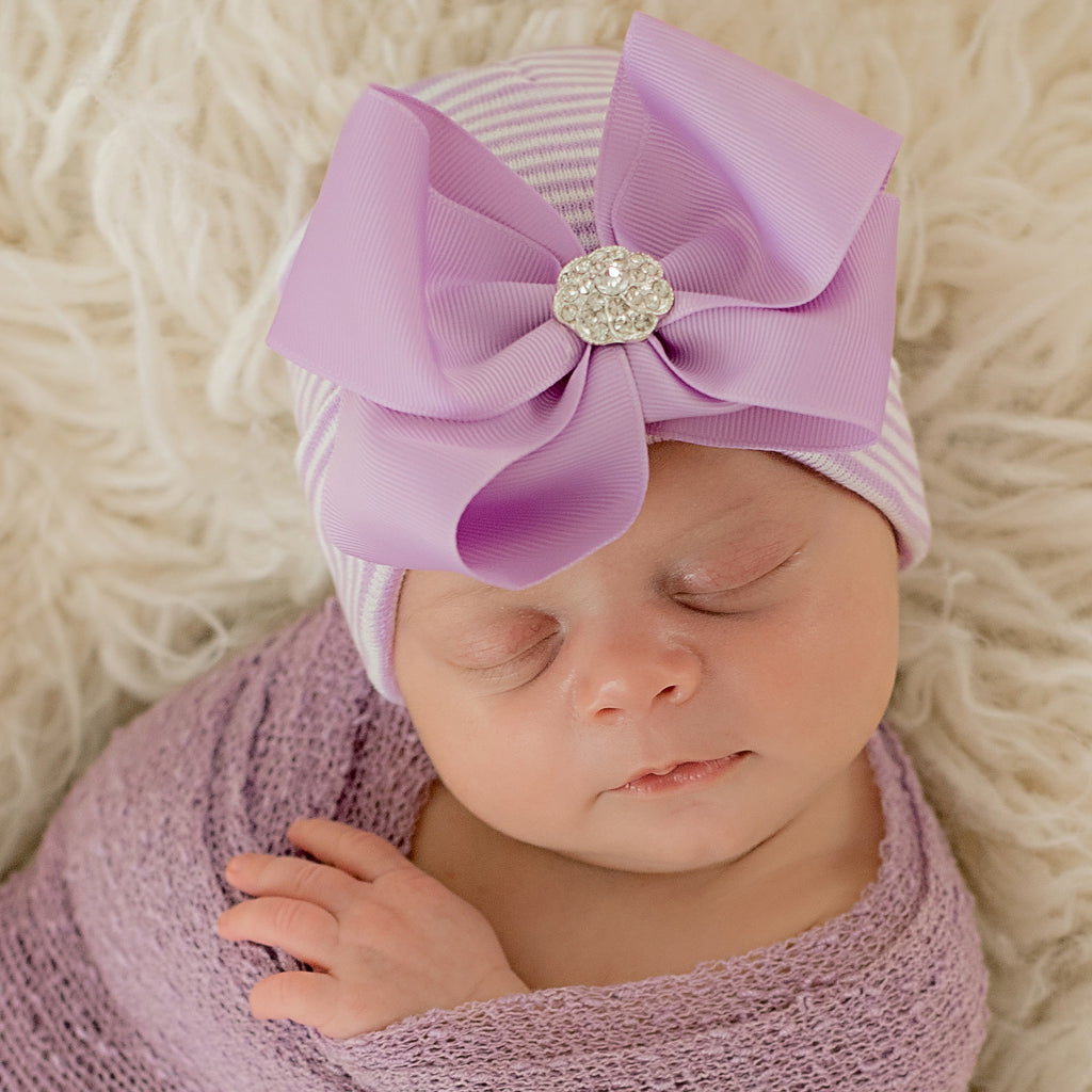PURPLE Bella Bow Bow with Rhinestone White Newborn Hospital Hat - Purple and White Striped Hat