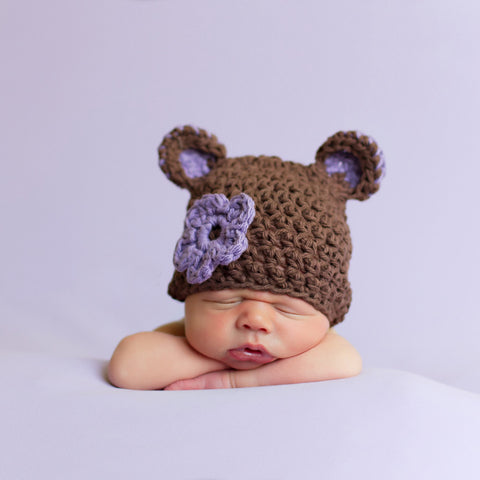 Sugar Plum Bear Baby Girl Beanie