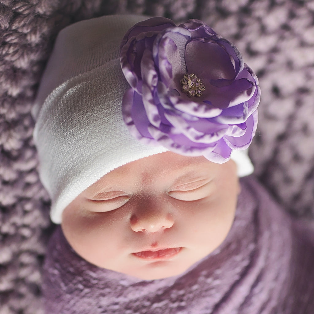 White Hat with Purple Silk Flower with Flower Rhinestone Center Newborn Girl Hospital Hat