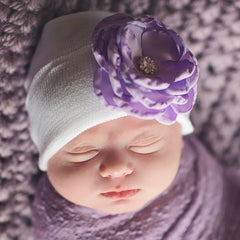 White Hat with Purple Silk Flower with Flower Rhinestone Center Newborn Girl Hospital Hat icon