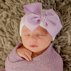 Purple Gingham Bow Newborn Girl Hat -Purple Bow with Purple Gingham Ribbon on White Hat icon
