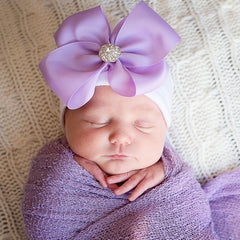 Purple Ribbon Bow White or Pink Hat with Rhinestone Center icon