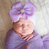 Purple Ribbon Bow White or Pink Hat with Rhinestone Center