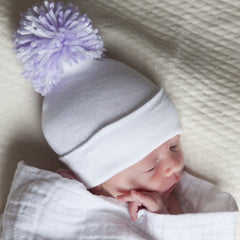 BIG White & PURPLE Pom Pom Girl's Newborn Hospital Hat icon