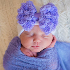 Sweet Purple Rosette Bow Newborn Girl Hospital & Nursery Hat icon