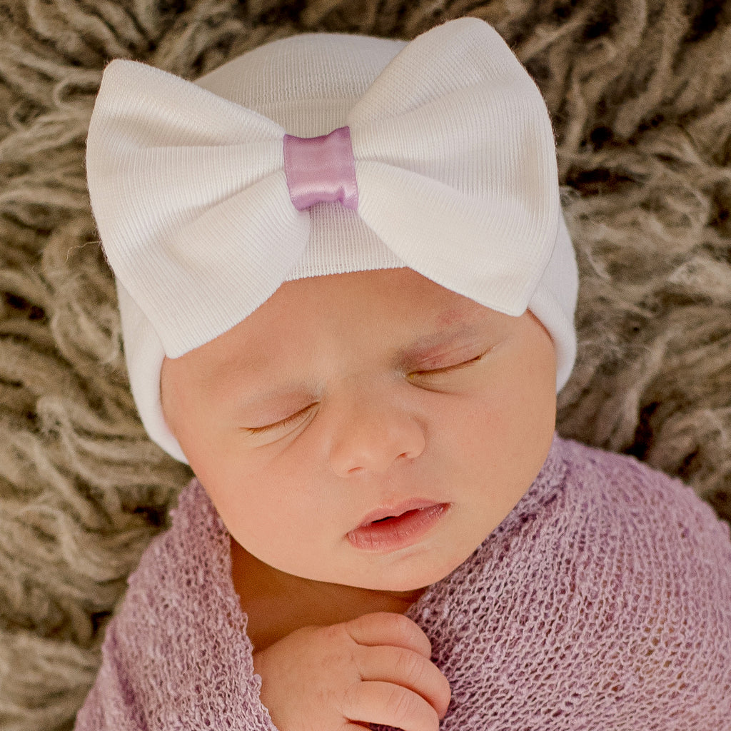 Bridgett Bow White Big Bow Newborn Girl Hospital Hat - White Hat with Purple Ribbon
