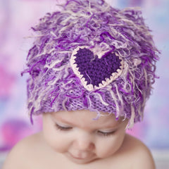 Zooni Purple Heart Girly Baby Toddler and Kids Winter Hat - FULLY LINED IN FLEECE icon