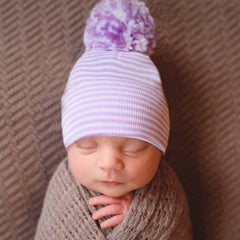 Striped WHITE & PURPLE with Mixed Purple and White Pom Pom Girl's Newborn Hospital Hat icon