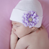Purple and White Chevron Frayed Flower with Gem Newborn Girl Hospital Hat