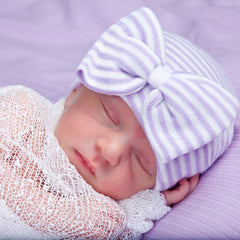 Lavender & White Striped Newborn Girl Hospital Hat with BIG BOW icon
