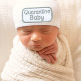 Quarantine Baby Hat - Newborn Hospital Hat - White Quarantine Gender Neutral Hat