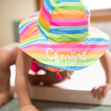 Bright Rainbow Stripe Wide Brim Sun Hat for Baby and Toddler Girls - Personalization Option