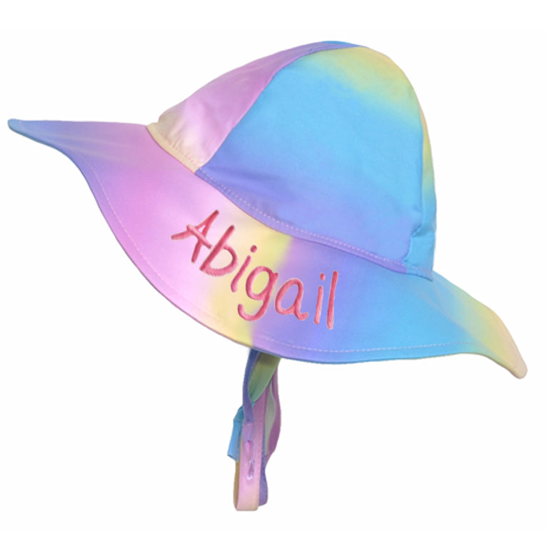 Ombre Rainbow Wide Brim Baby and Toddler Girl Sun Hat - UPF 50 Sun Protection - PERSONALIZED OPTION