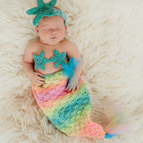 Rainbow Shell and Star Mermaid 3 Piece SET - Headband, Bikini Shell Top and Mermaid Chiffon Tail - Photography Prop for Newborn Girls