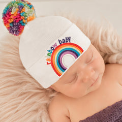 Rainbow Pom Pom and Rainbow Patch Baby Hat - White - Gender Neutral Hospital Hat icon