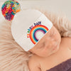 Rainbow Pom Pom and Rainbow Patch Baby Hat - White - Gender Neutral Hospital Hat