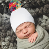 HANDMADE Rainbow Pom Pom White Hospital Hat Gender Neutral Hospital Hat- Rainbow Baby