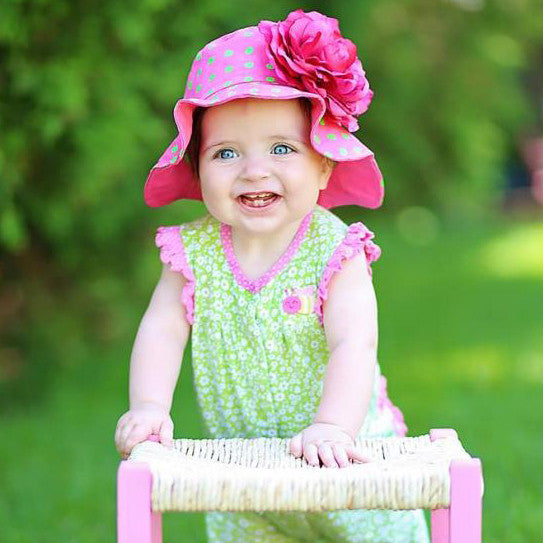 Pink Flower Lady Polka Dot Baby Sun Hat