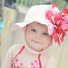 Raspberry Peony Pink Sun Hat for Baby and Toddler Girls