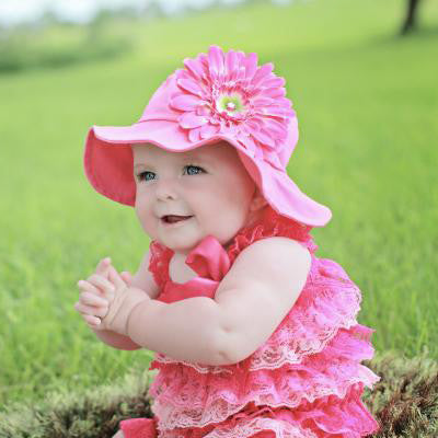 Strawberry Pink Baby Girl Sun Hat with Pink Daisy  32a15c83b51