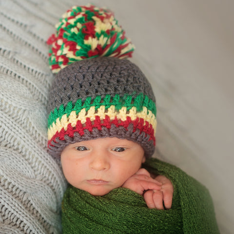 Rasta Crochet Pom Pom Hat for Babies - Grey, Red, Yellow and Green Hat