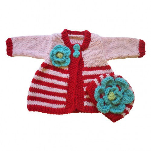 Red and Aqua Sweater and Hat SET for Baby and Toddler Girls